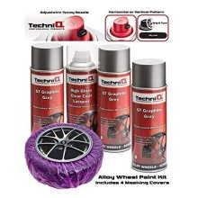 TechniQ GT Graphite Grey Metallic Alloy Wheel Paint Kit 3 x 400ml Cans + High Gloss Clear Coat + Alloy Wheel Maskers x 4