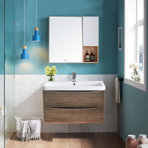 Wall Hung 2 Drawer Vanity Unit Basin Bathroom Furniture 800mm Grey Oak Effect