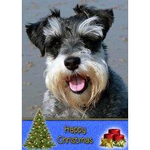 "Miniature Schnauzer Christmas Greeting Card 8""x5.5"""
