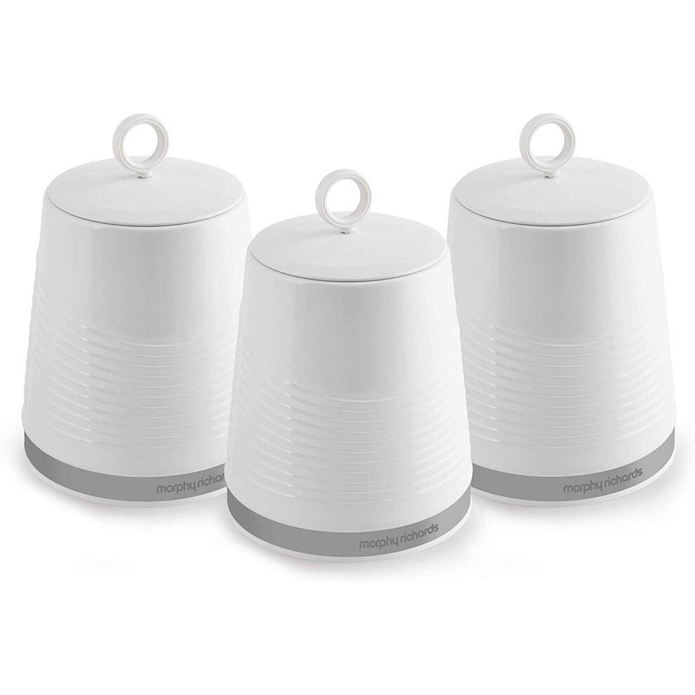 Morphy Richards 976005 Dune Kitchen Canisters Tea Coffee Sugar White On Onbuy