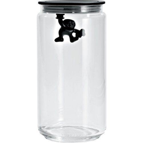 A Di Alessi Glass Gianni Jar A Little Man Holding On Tight Large Kitchen Box with Hermetic Lid in Thermoplastic Resin, Black