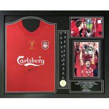 """Framed Steven Gerrard signed 2005 """"Istanbul"""" shirt with medal & COA"""