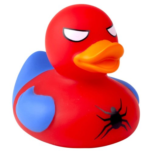Lilalu Spidy Superhero Red Rubber Duck Bathtime Toy
