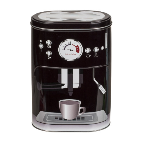 Black Retro Coffee Machine Tin Canister Food Storage Kitchen Container Holder