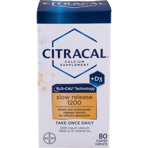 Citracal, Calcium + D, Slow Release 1200, 80 Coated Tablets