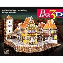 Wrebbit Medieval Village Rothenburg, 740 Piece 3D Jigsaw Puzzle Made Puzz3D