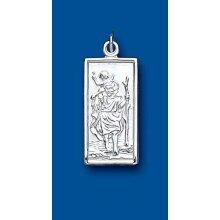 Medium Rectangular St Christopher Sterling Silver 925 Stamp All Chain Lengths
