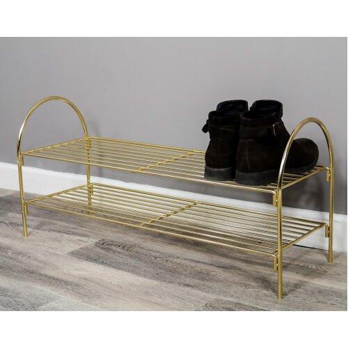 Gold Steel Shoe Rack - 6 pairs