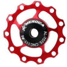 2PCS 11T  Aluminum Alloy MTB Mountain Bike Bicycle Rear Derailleur Pulley Jockey Wheel Road Bike Guide Roller For 7/8/9/10 Speed 11T red
