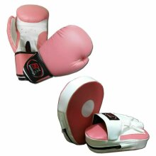 Pink Ladies Focus pads and Boxing Gloves set Hook & Jab Punching kick boxing MMA