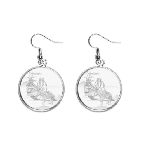 Dao Religion China Cattle Lao Tzu Ear Dangle Silver Drop Earring Jewelry Woman
