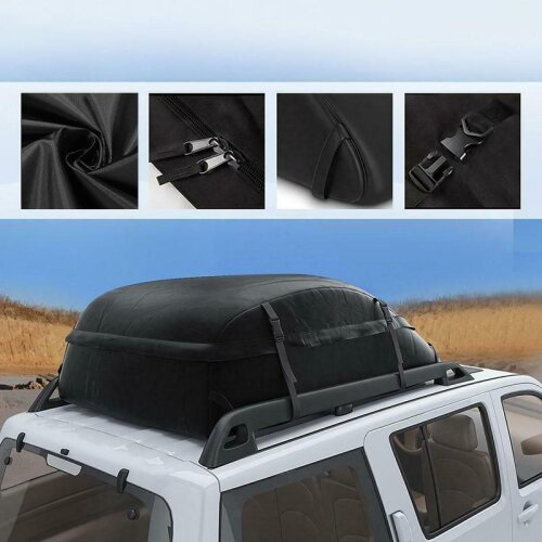(As Seen on Image) 130X100X43cm 20 Cubic Car Cargo Roof Bag Waterproof Rooftop Luggage Carrier Black Storage Travel Waterproof SUV Van for Cars