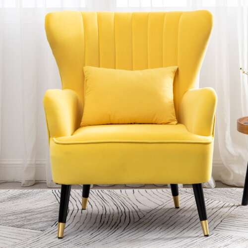 (Yellow) Comfy Velvet Occasional Accent Chair Modern Wing Backed Tub Chair