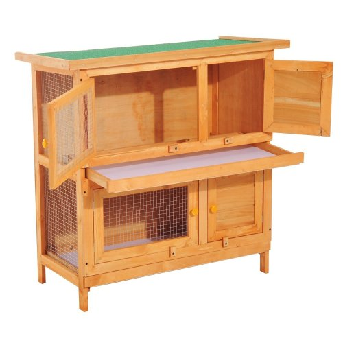 PawHut 2-Tier Wooden Rabbit Hutch with Sliding Tray