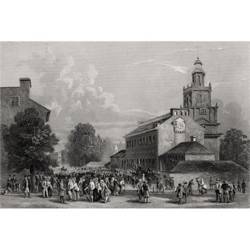 Old State House Philadelphia USA Erected 1735 From A 19th Century Print Engraved J Rogers Poster Print, 18 x 12