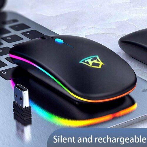 LED Wireless Mouse Cordless RGB Optical Mice For PC Laptop Computer 2.4GHz Games