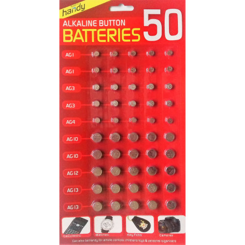 50 X ASSORTED BUTTON CELL BATTERIES WATCHES,GAMES ETC