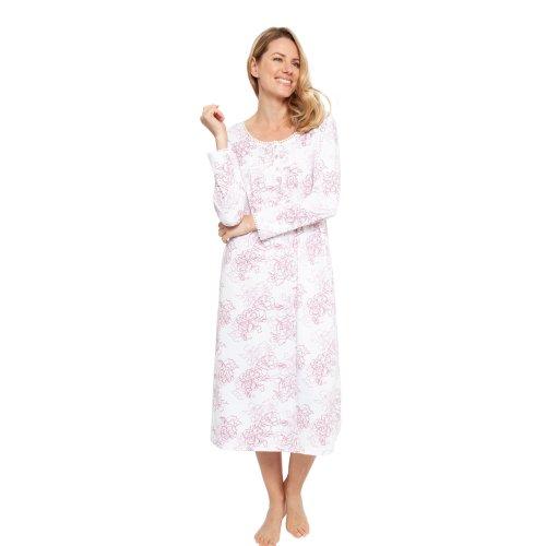 (Pink, 16) Cyberjammies 1354 Women's Nora Rose Lydia Pink Rose Print Knit Nightdress