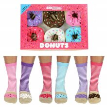 United Oddsocks Donuts 6 Bright Fun Ladies Multicoloured Socks UK 4-8