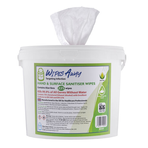 IPA Hand & Surface Sanitiser Wipes 225wipes 70% Alcohol with Aloe Vera
