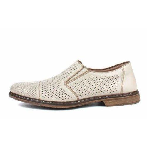 (9.5 UK / 44 EU) Rieker Men's Beige Crema Braun Flats