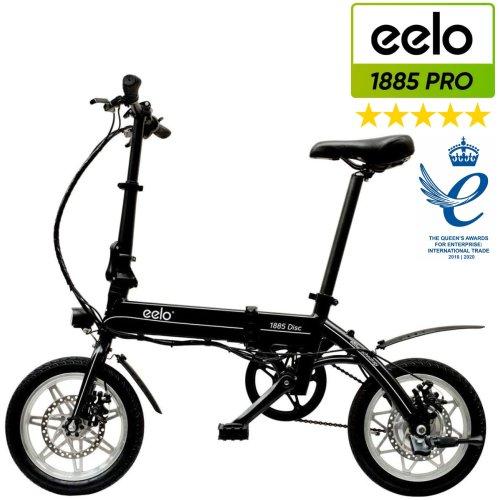 (Black) eelo 1885 PRO Folding Electric Bike - Portable eBike Easy to Store in Caravan, Motor Home, Boat, Car. Two-Times Queen's Award Winner