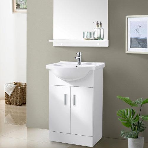550mm White Basin Vanity Unit Sink Cabinet Bathroom Storage Furniture