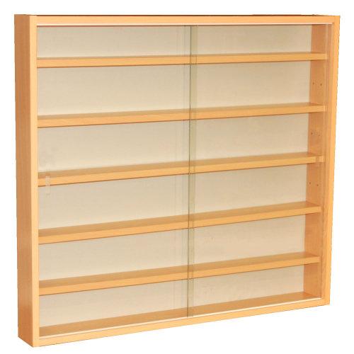 Beech WATSONS REVEAL 4 Shelf Glass Wall Collectors Display Cabinet