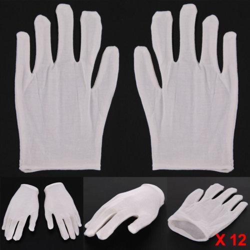 12 Pairs Cotton White Gloves Purpose Moisturising Lining Gloves