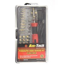 Pyrography Wood Marking Kit -  pyrography wood burning pen tool tips kit 30w craft set woodburning 24 stand soldering amtech marking brass