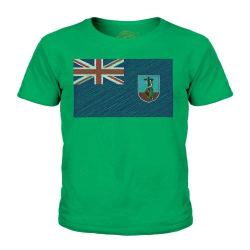 (Irish Green, 3-4 Years) Candymix - Montserrat Scribble Flag - Unisex Kid's T-Shirt