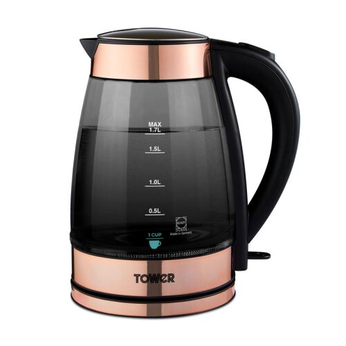 Tower Rose Gold 3KW 1.7L Smoked Glass jug Kettle Blue Light