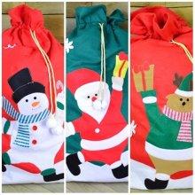 Set of 3 100cm x 60cm Christmas Gift Sack Featuring Santa, Reindeer & Snowman