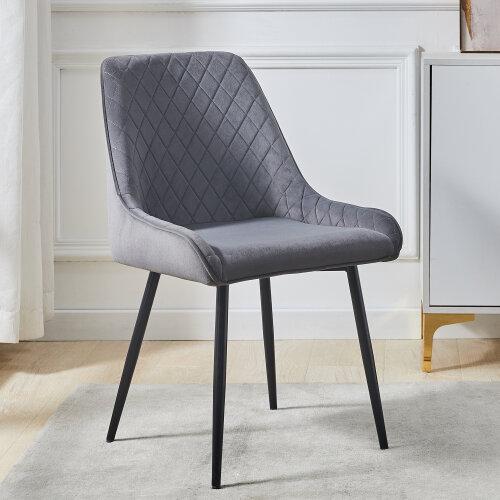 Dining Chair Set of 2 Grey Velvet with Backrest & Steel Legs Chair
