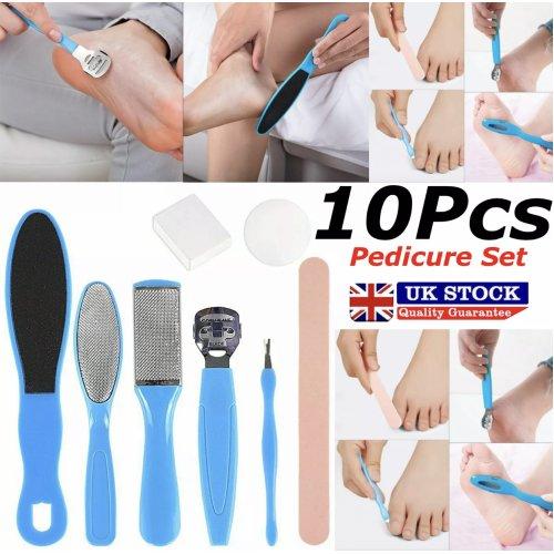 PEDICURE SET | 10pc Foot File Kit Scraper Nails Feet Care Tools for Women Callus