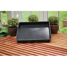 Square Garden Tray Black Plastic Potting