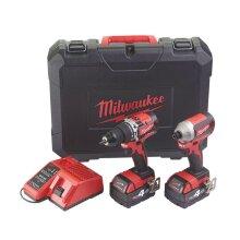 Milwaukee Cordless Combi Drill&Impact Driver Twin Pack M18CBLPP2A-402C 2 x 4.0Ah - Refurbished