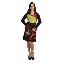 Ladies Cotton Mini Skirt With an Elasticated Waistband and Multicolored Patch & Embroidery