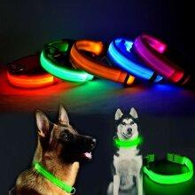 USB Rechargeable LED Flashing Luminous Safety Night Light Up Dog Pet Collar