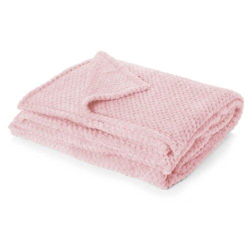 (Blush Pink, Single - 125 x 150cm) Dreamscene Luxurious Waffle Honeycomb Blanket Throw (Large)