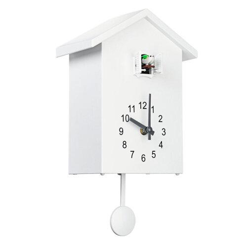 Cuckoo Quartz Wall Clock Modern Bird Home Living Room Hanging Watch Office Decor WHITE COLOR
