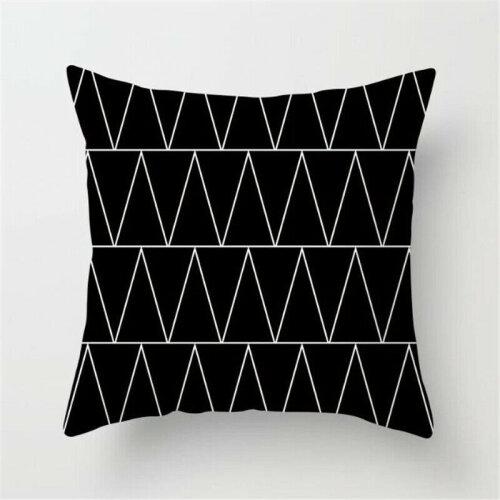 (Geometric A) Black White Square Geometric Cushion Covers Pillow Cases Sofa Waist Throw Decor