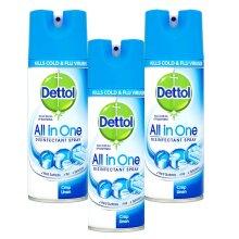 3 x Dettol Disinfectant Spray All-in-1 Antibacterial Crisp Linen 400ml