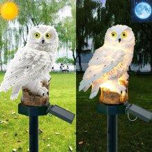 LED Owl Solar Powered Garden Light Outdoor Ornament Lawn Statue Waterproof Lamp