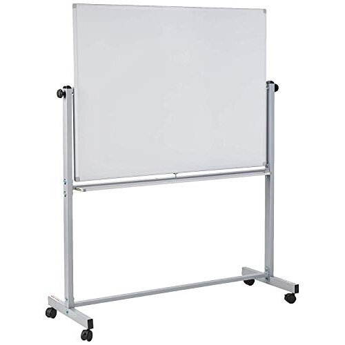 Offex Mobile Magnetic Large Whiteboard on Wheels Free Standing Double-Sided Dry Erase White Board for Teachers Students Children Classroom Office - 48