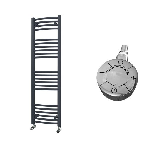 HB Essentials Zeno Anthracite Curved Ladder Heated Towel Rail 1400mm x 400mm Electric Only - Thermostatic