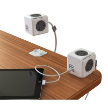 Allocacoc PowerCube Extended USB 3 Metre UK Power Socket, 2 Built-In USB Ports