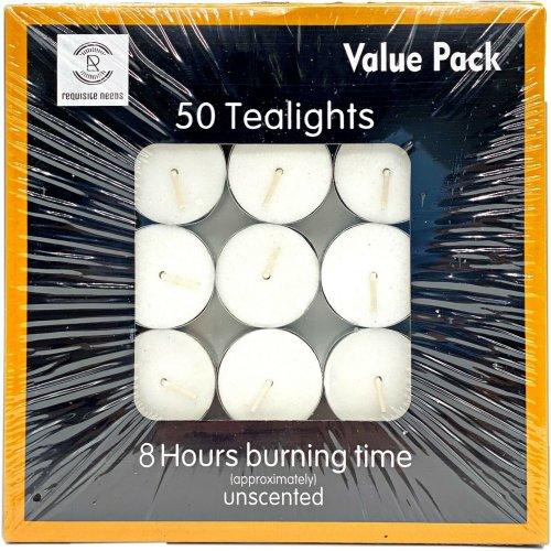 (50 pcs) Tea Light Candles 8 Hour Burn Unscented Tealights