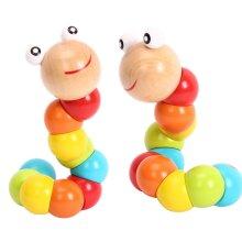 Wooden Twist Caterpillar Toys Puzzles, Baby Montessori Kids Toys