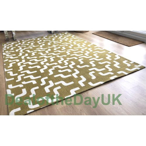 (120 x 180 cm) Large Cotton Print Gold Rug Small Hallway Runner Mat 60 x 120 x 180 170 x 240 cm